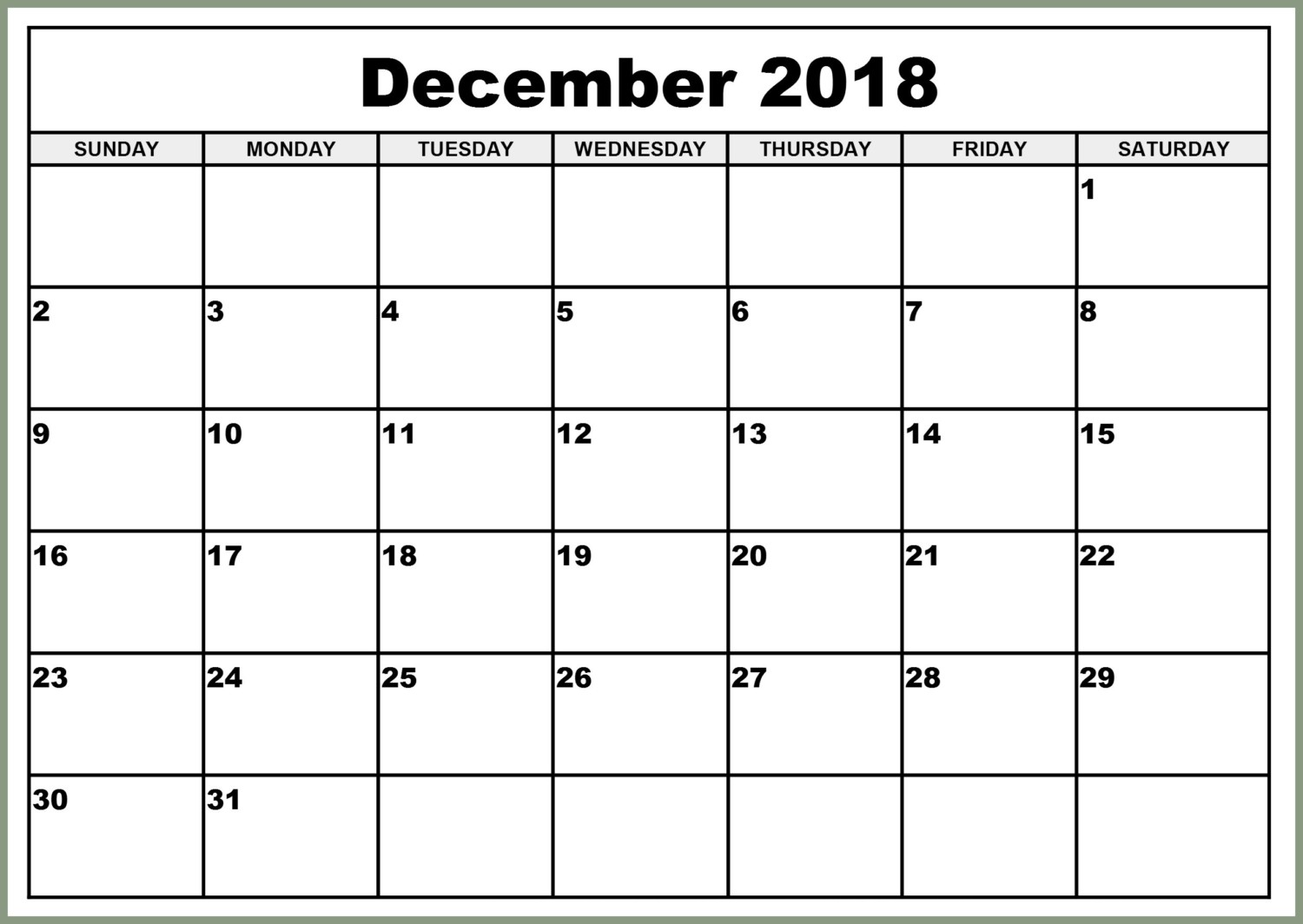 image relating to Printable Monthly Calendar December referred to as December 2018 Calendar Template Regular monthly Printable Calendar